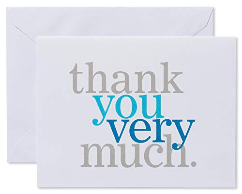 Gray Stationery - American Greetings, Stationery, Blue and Gray Thank-You Cards and White Envelopes, 50-Count