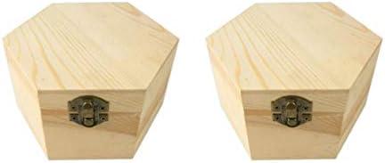 SUPVOX 2ピース未塗装木製ボックス木製ディスプレイボックス付き蓋石鹸フラワーボックス装飾木製コンテナランダムロックハスプスタイル