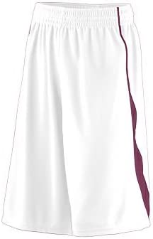 2XL Adult Wicking Mesh//Dazzle Game Short MAROON AND WHITE