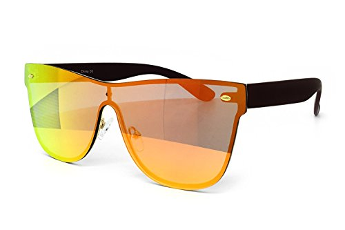 (O2 Eyewear 7155-1 Premium Oversize Rimless Shield Flat Matte Finish Mirror Sunglasses (ORANGE, 54))