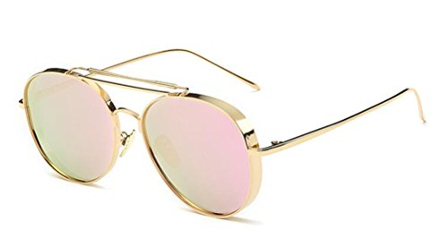 GAMT Polarized Aviator Sunglasses Round Mirrored Colored Lens for Women - Best Faces Sunglasses Aviator Round For