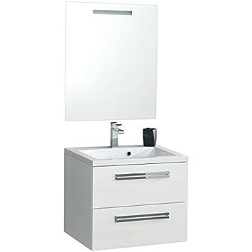 Meuble sous vasque SEDUCTA 60 cm 2 tiroirs blanc brillant Réf
