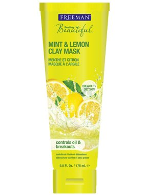 Freeman Feeling Beautiful Facial Clay Mask, Mint and Lemon - 6 Oz(175 ml), Pack of 2