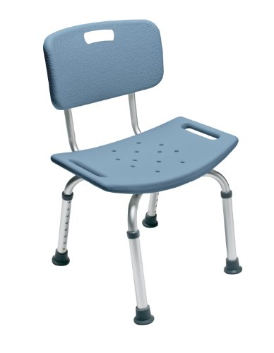 Lumex Platinum Collection Aluminum Bath and Shower Seat with Backrest, Blue
