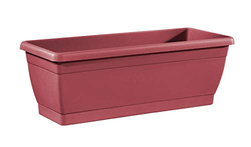 TABOR TOOLS Plastic 16 Inch Window Box Planter with Attached Saucer, for Indoor and Outdoor Use, Rectangular. VER505A. (Dark Red) ()