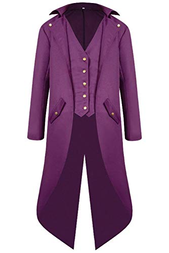BoBoLily Barroca Steampunk Medieval Chaqueta Victorian Gótico Medieval Coat Steampunk Violett Punk Gentleman Renacimiento TrPTgqW61