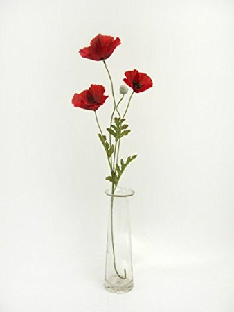 Set of 2 artificial red poppy silk flower sprays poppies with 3 set of 2 artificial red poppy silk flower sprays poppies with 3 heads per spray mightylinksfo