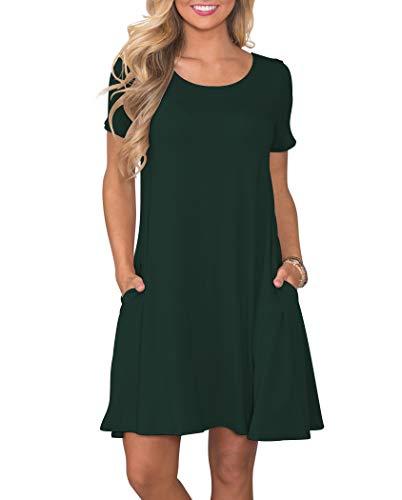 r Casual T Shirt Dresses Short Sleeve Swing Dress with Pockets DarkGreen XXL ()