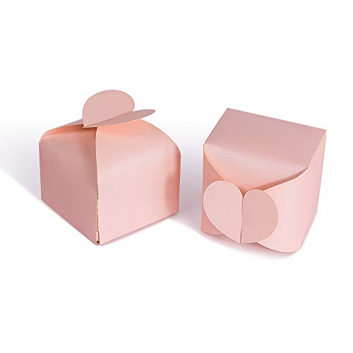 Wedding Party Candy Favor Boxes - 50pcs 2.3inch Heart Design Favor Treat Gift Box Paper Favor Boxes for Wedding, Baby Shower,Engagement, Bridal Shower, Party, Baptism (Pink)