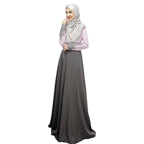 Women's Kaftan Abaya Jilbab Islamic Muslim Long Sleeve Maxi Dress Large Grey