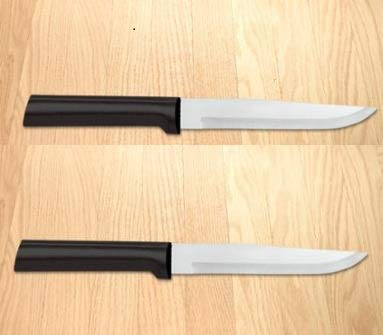 Rada Cutlery Stubby Butcher Knife Pack of 2- Stainless Steel Blade With Black Stainelss Steel Resin Handle Made in USA