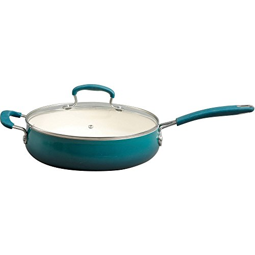 The Pioneer Woman Classic Belly Ceramic Non-Stick Interior 10-Piece Cookware Set in Ocean Teal