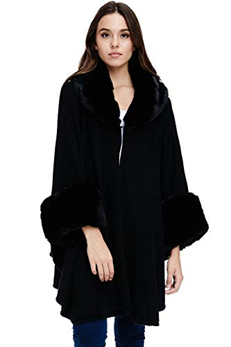 Womens Faux Fur Trim Poncho – Sweater Luxe Winter Coat Wrap (Black, One Size)