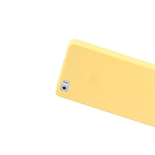 Funda Huawei P8 Lite, CaseLover Ultra Delgado Suave TPU Carcasa para Huawei P8 Lite (5.0 Pulgadas) Flexible Silicona Parachoques Gel Arañazos Absorbente Resistante Goma Mate Opaco Amortigua Golpes Pro Amarillo