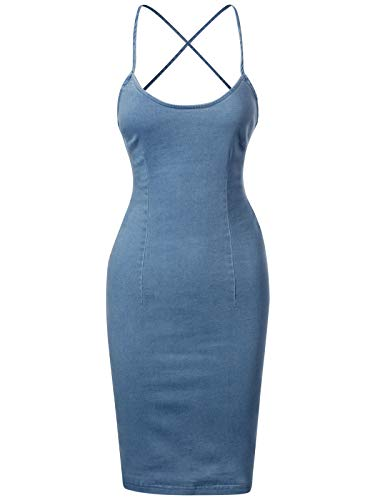 Design by Olivia Women's Chambray Backless Spaghetti Straps Cami Bodycon Dress Denim S ()