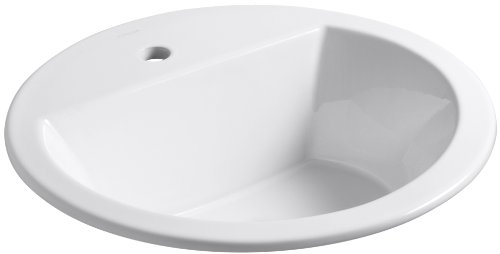 KOHLER K-2714-1-0 Bryant Round Self-Rimming Bathroom Sink with Single-Hole Faucet Drilling, White
