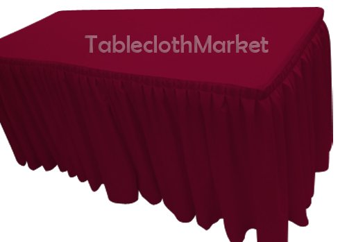 6' Ft. Fitted Tablecloth Double Pleated Polyester Table Skirt Cover W/top Topper Burgundy (Burgundy Skirt Table)