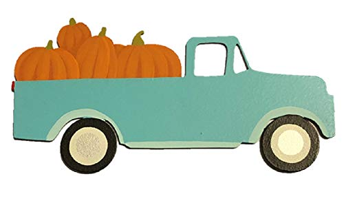 Roeda Brighten Your Life 13774B Blue Truck with Pumpkins Fall Magnet]()