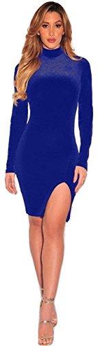 Neuf pour femme en velours Bleu royal Ouverture frontale manches longues Robe de soirée Porter Taille XL UK 12EU 40