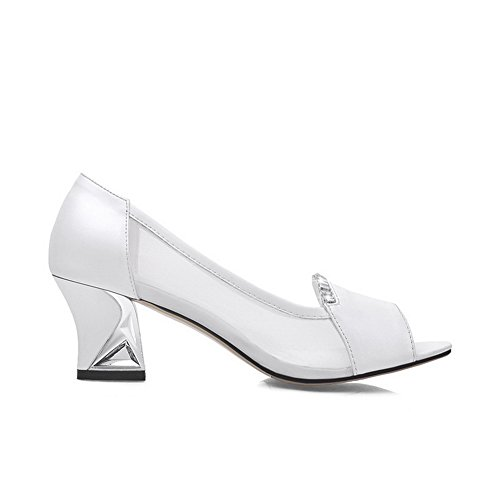 Amoonyfashion Mujeres Solid Solid Material Kitten-heels Pull-on Peep-toe Sandals Blanco
