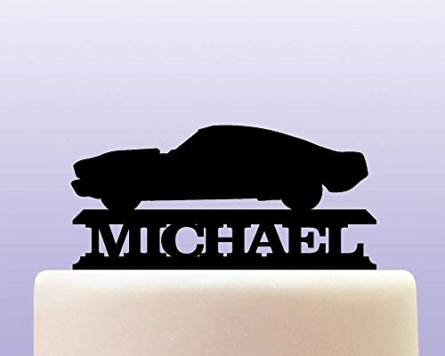 Personalised Acrylic Retro Vintage Mustang Classic Car Cake Topper for Anniversary Party Decorations Birthdays, Weddings, Themed Parties Cake Decoration In Your Choice of Color (Mustang Cake)