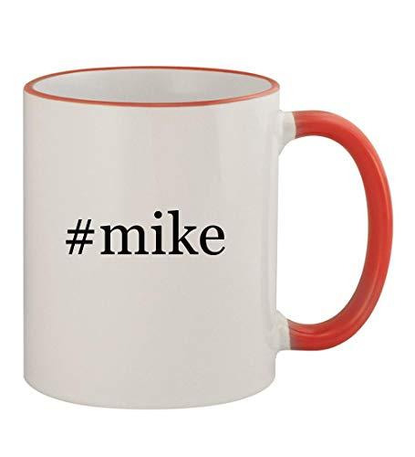 #mike - 11oz Hashtag Colored Rim & Handle Sturdy Ceramic Coffee Cup Mug, Red (Napoli Shirt Red)