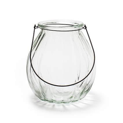 Glaslaterne Windlicht mit Henkel Pumpkin K/ürbis Kerzenglas Laterne H 17,5 cm Dekoglas als Tischdekoration /Ø 18 cm