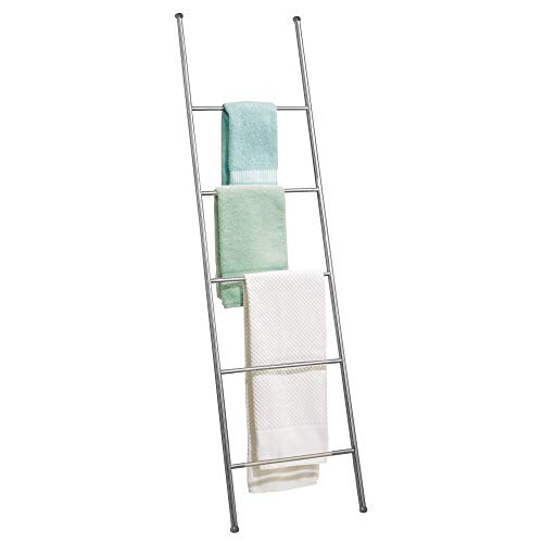 iDesign Forma Metal Free Standing Bath Towel Ladder Storage Organization, Rack for Bathroom, Bedroom, Laundry Room, 16.5' x 0.75' x 60.5', Brushed Stainless Steel