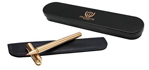 Islandoffer Simple Classic Military Grade Solid Brass Pen, Handmade Copper Sign Pen Pocket Pen with Clip, Unique Polished Metal Sign Signature Pen Gel Pen, Christmas Gift Pen