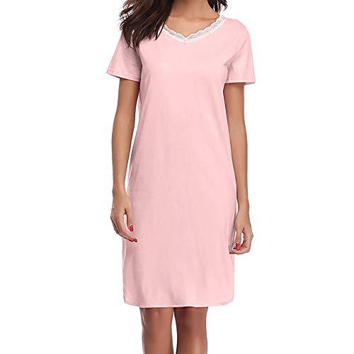 Rose Uni Sexy Pyjamas Shirt Chemisier Femme Chic Court Long Mode T Tops Robes Blouse Coton Amples Dentelle Manche wHvTqH