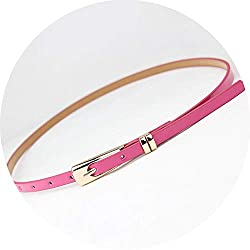 New Arrival Candy Color Thin Pu Leather Belt Female Red Brown Black White Yellow Waist Belts For Women Dress Strap Hot Sale Rose Red