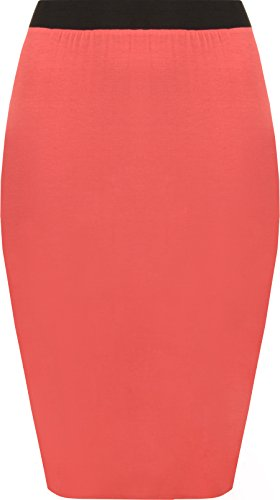 WearAll - Uni Taille lastique Midi-Jupe Droite - Jupes - Femmes - Tailles 36  42 Corail