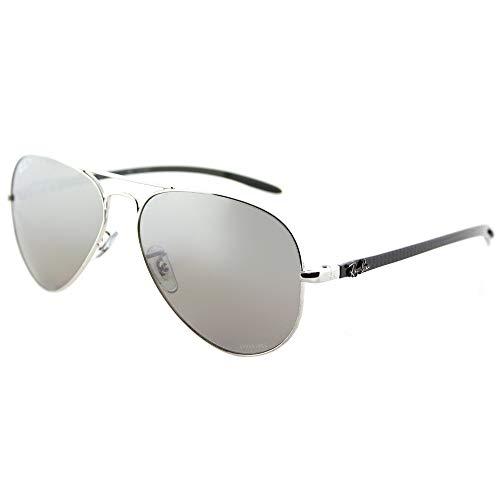 Ray-Ban RB8317CH Chromance Mirrored Aviator Sunglasses, Shiny Silver/Polarized Silver Mirror, 58 mm (Ray-ban Sonnenbrille Männer)