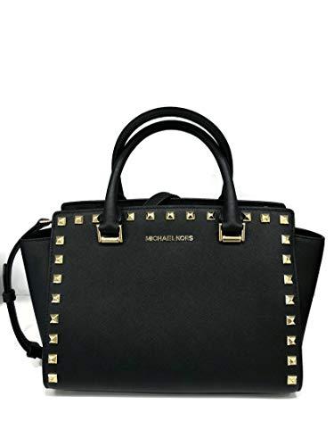 Selma Stud Leather Satchel Shoulder Bag - Black ()