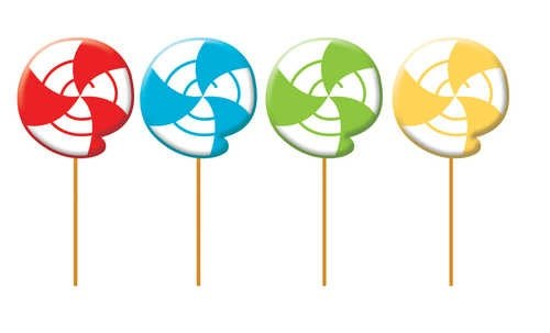 4-Count Molded Candles, Lollipop-Shaped Sugar Buzz -