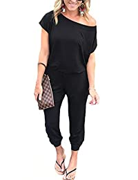 YAMTHR Women's Off Shoulder Short Sleeve Elastic Waist Beam Foot Jumpsuit Rompers with Pockets