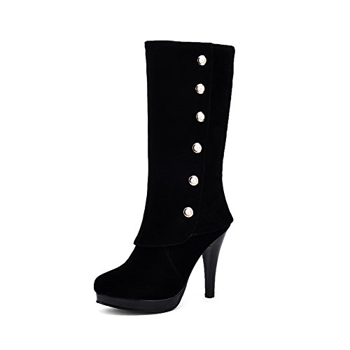 AllhqFashion Women's Pull-on Round Closed Toe High-Heels Imitated Suede Mid-top Boots, Black, - With Shipping Overnight Free Stores