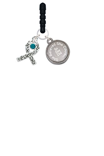 Scroll Ribbon with Teal Crystal She Believed She Could Phone Charm
