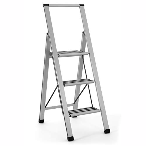 Aluminum Folding 3 Step Ladder, Anti Slip, Sturdy, Lightweight and Slim Design, Heavy Duty, Silver (Folding Aluminum Step)