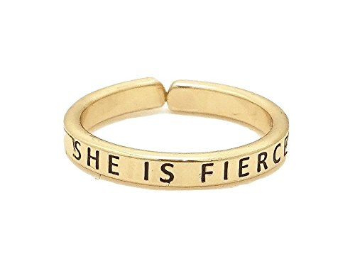 Occasions Gift Giving Engraved Inspirational Message Adjustable Ring (Goldtone SHE IS FIERCE) - Engraved Message Ring
