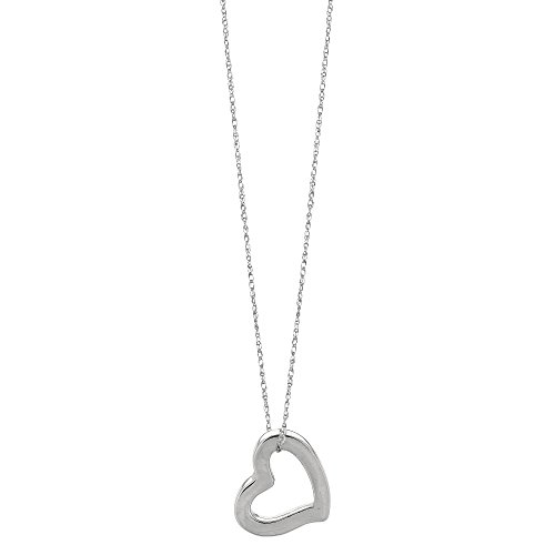 14k White Gold Heart Shaped Tube Pendant Necklace, 18