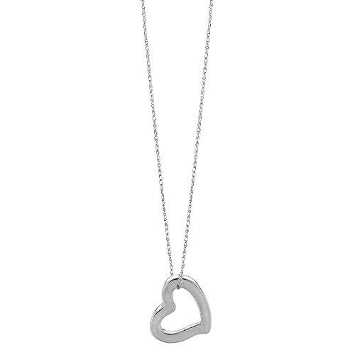 14k White Gold Heart Shaped Tube Pendant Necklace, - Shaped Heart Pendant 14k