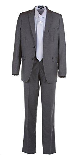 Tuxgear Boys Dark Grey Slim Fit Communion Suit With Silver Cross Dress Tie (Boys 7) by Tuxgear