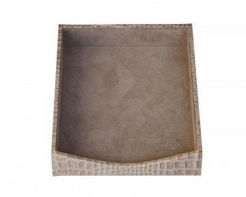 Dacasso Protacini Breeze Beige Italian Patent Leather Front-Load Letter Tray by Dacasso