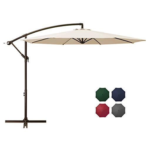 DOMICARE 10ft Offset Hanging Patio Umbrella with 8 Ribs