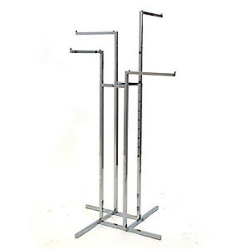 - Chrome 4-Way garment rack with 4-16