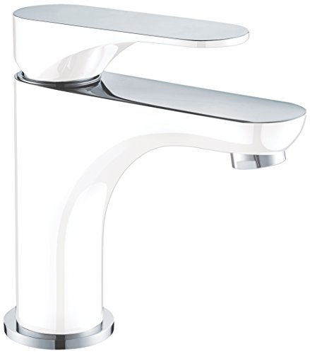 Dawn AB37 1565CPW Single-Lever Lavatory Faucet, Chrome & White (Standard Pull-up Drain with Lift Rod D90 0010C Included) (Lift Chrome Rod)