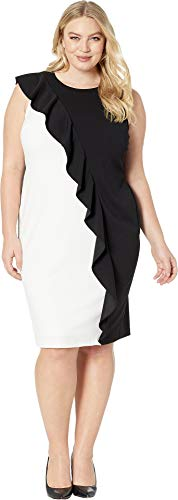 Adrianna Papell Women's Plus Size Colorblock Crepe Sheath Dress with Ruffled Draping, Black/Ivory, 18 (Adrianna Papell Sheath Dress)