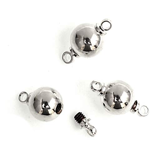Ball Link Screw (10 Beautiful Ball Screw Clasp Connector 8mm Silver Clasps, Sterling Silver Plated#CF155-8)