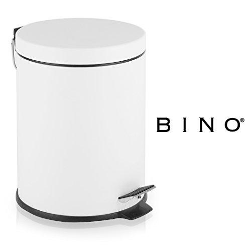 BINO Stainless Steel 1.3 Gallon / 5 Liter Round Step Trash Can, Matte White - Large Round Step